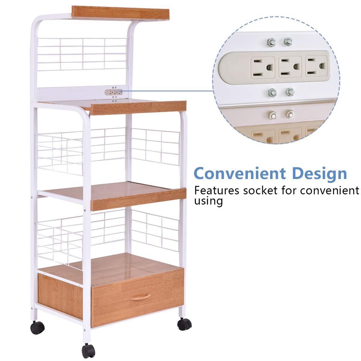 Giantex Microwave Cart Kitchen Baker's Rack Microwave Oven Stand Rolling Kitchen Storage Cart Utensils Organizer w/Electric Outlet and Drawer by Giantex (Image #5)
