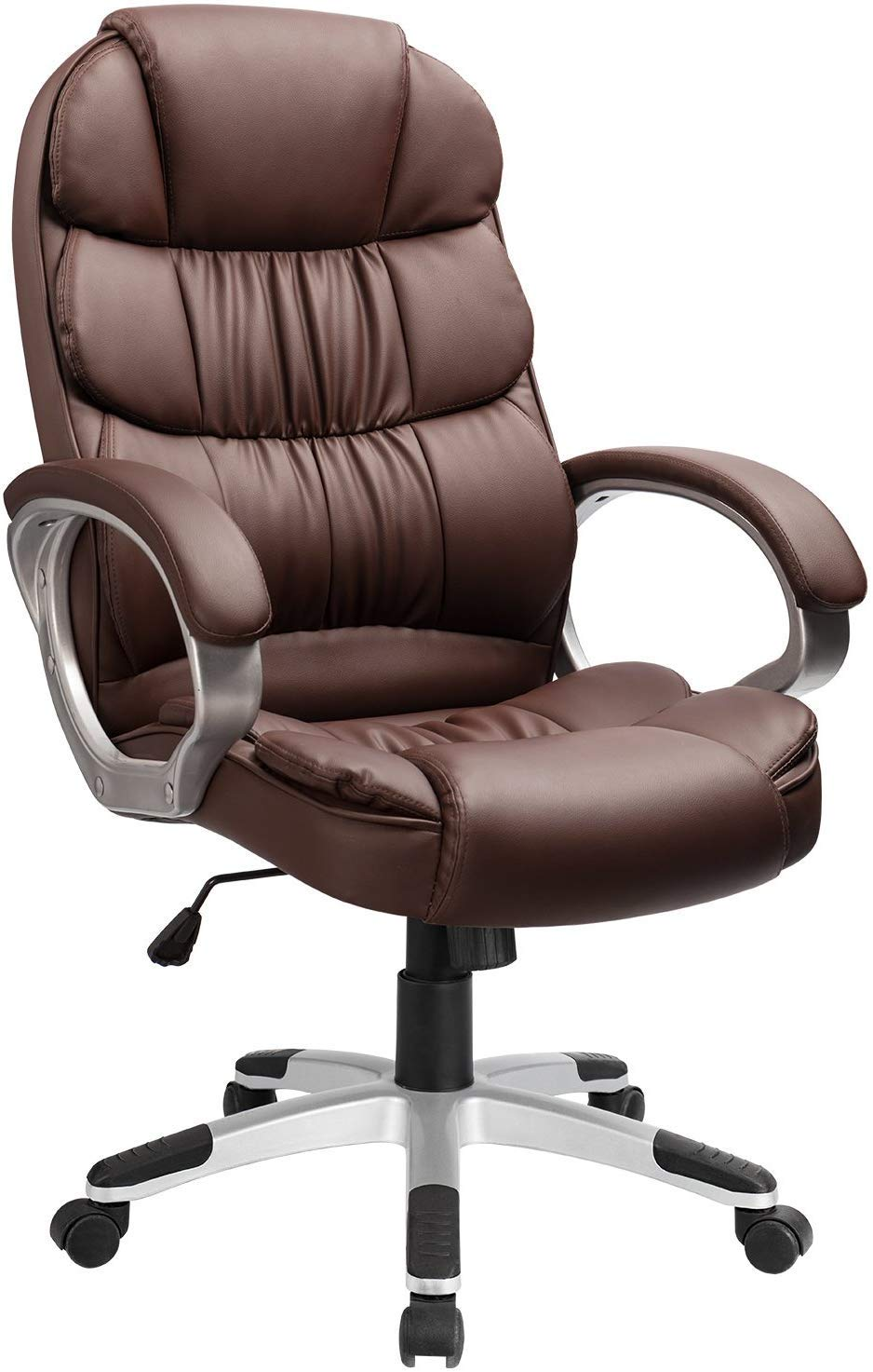 Furmax High Back Office Chair Adjustable Ergonomic Desk Chair with Padded Armrests,Executive PU Leather Swivel Task Chair with Lumbar Support (Brown)