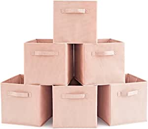 Set of 6 Foldable Fabric Basket Bin, EZOWare Collapsible Storage Cube for Nursery, Office, Home Décor, Shelf Cabinet, Cube Organizers (Dogwood Pink)