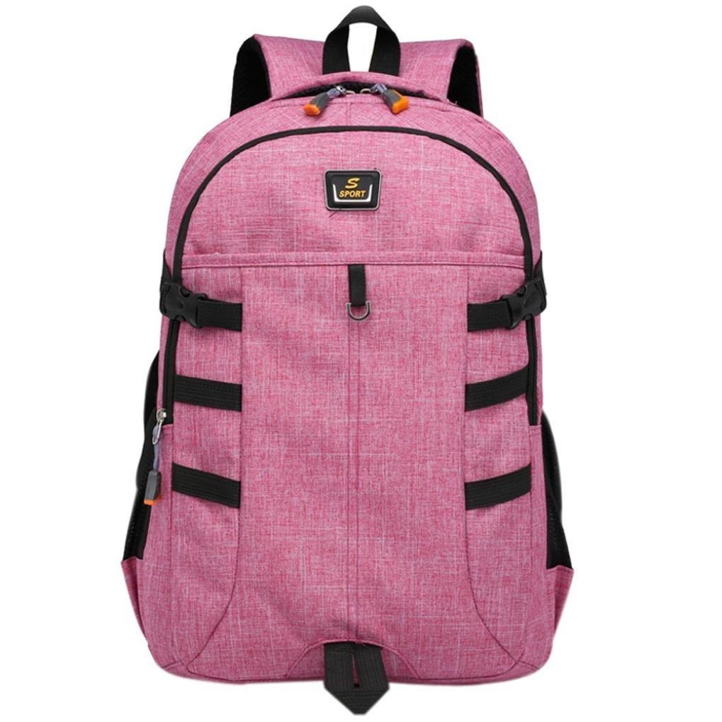 Sinohomie Backpack Large Capacity Bag Unisex Student Bag Computer Bag Mountain climbing Travel Bag (Pink)