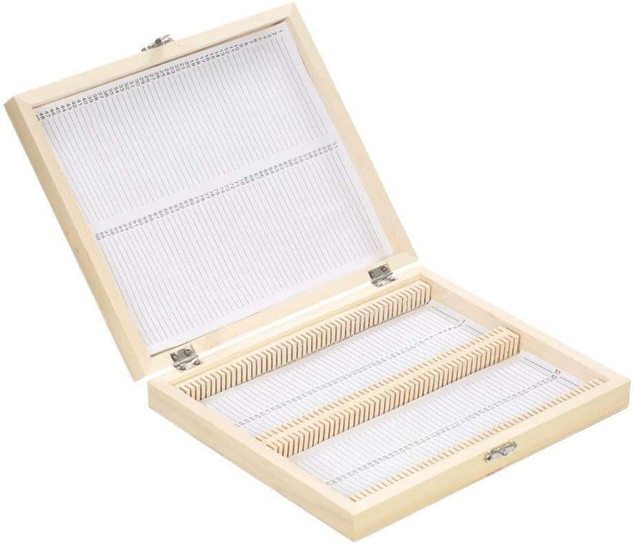Storage Box Tool With Numbered Slots Holder Contents Sheet Wooden Practical Locked Microscope Slides Organizer Large Capacity Lab 100 Places Durable