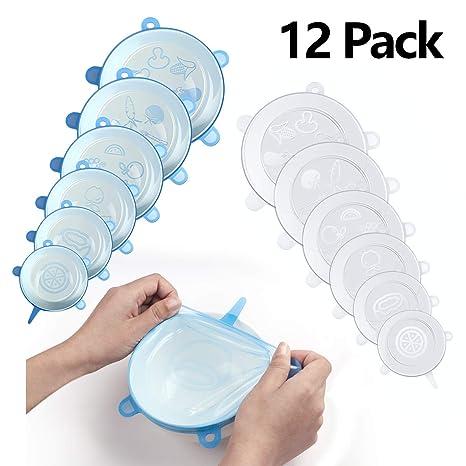 Rozeda Tapas elásticas de Silicona, Tapas De Silicona, 12 Paquetes De Varios Cubierta de