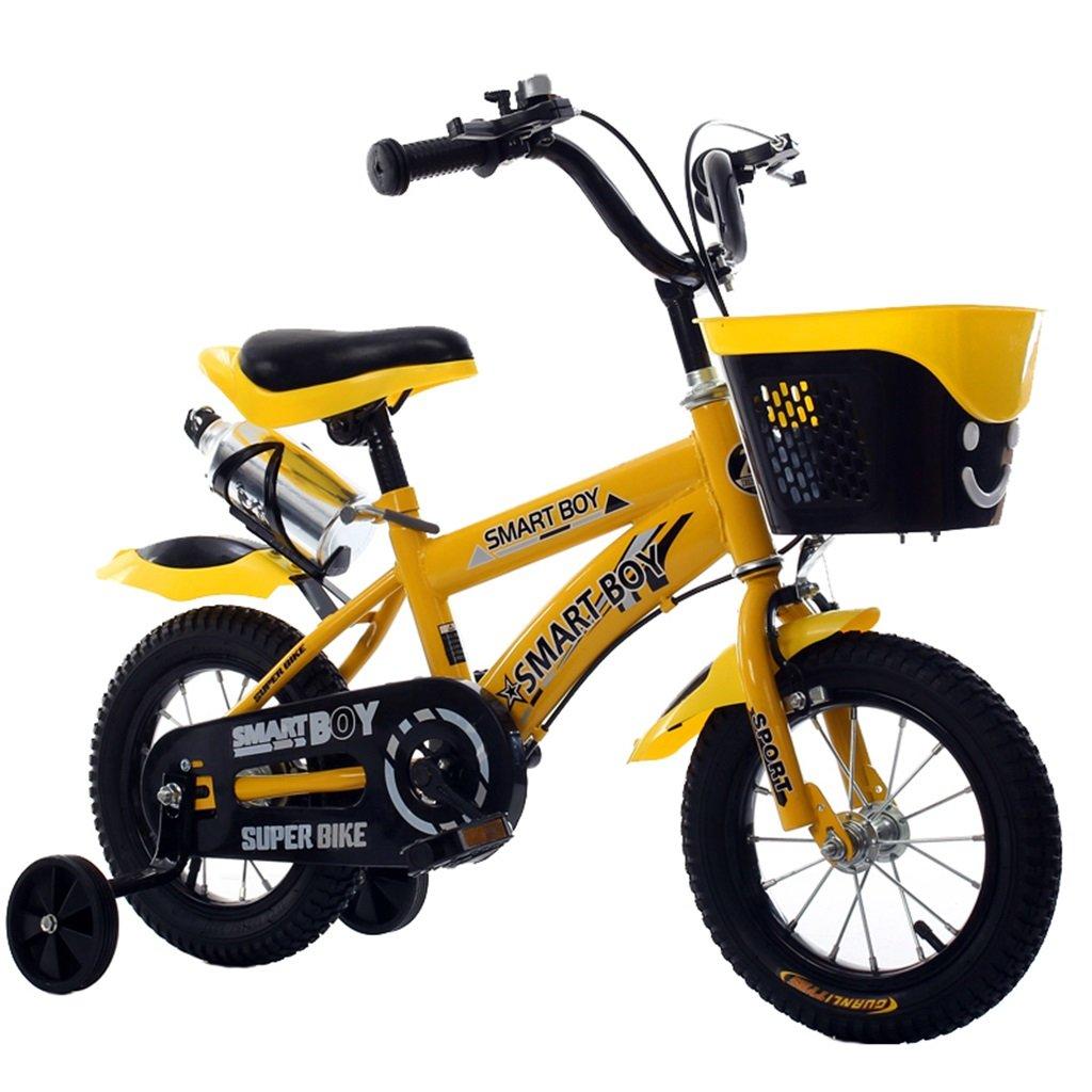 KANGR-子ども用自転車 子供用自転車アウトドアマウンテンバイク2-3-6-8ボーイズとガールズ子供用玩具調節可能ハンドルバー/トレーニングホイール付きサドルウォーターボトルとホルダー-12 / 14/16/18インチ ( 色 : イエロー いえろ゜ , サイズ さいず : 16 inch ) B07C9T74P8 イエロー いえろ゜ 16 inch