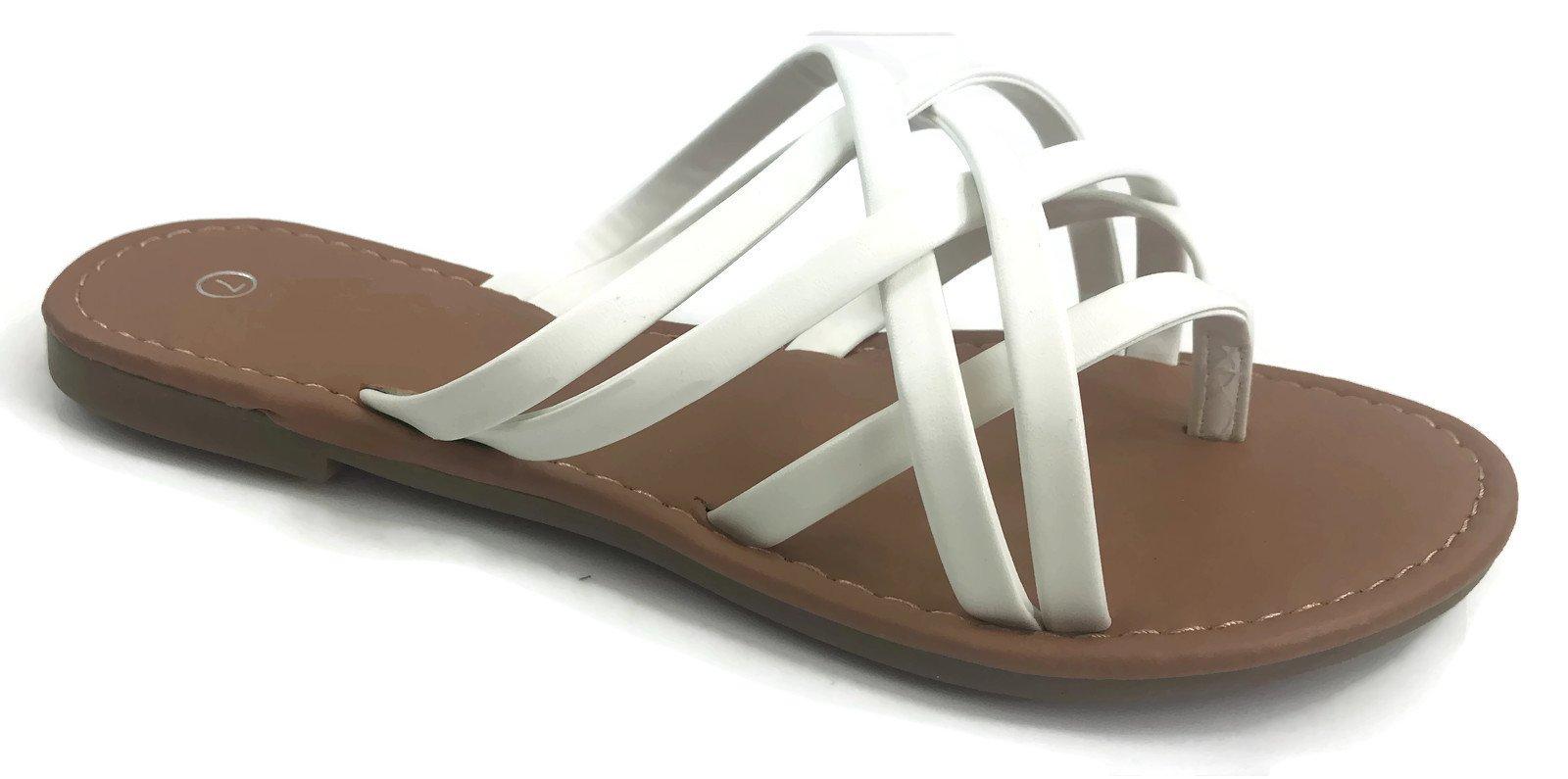 d14ef6d08 Galleon - Girls Club Alva Flip Flops Strappy Summer Sandal Criss Cross  Double Straps