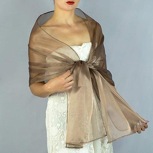 vendita calda online 69481 59e8b Stole donna organza marrone scialli vestito da sposa nuziale ...
