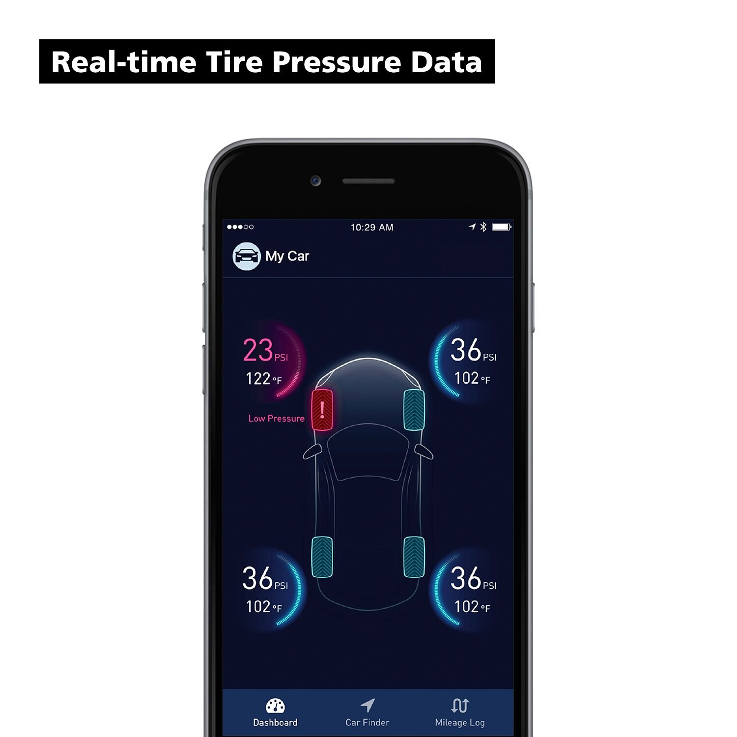 Nonda Zus AccurateTemp/® Smart Tire Safety Monitor Tpms with APP Tire Pressure Monitoring System with 4 Upgraded External Cap Sensors Real Time Pressure /& Temperature Alerts Slow Leak Detection