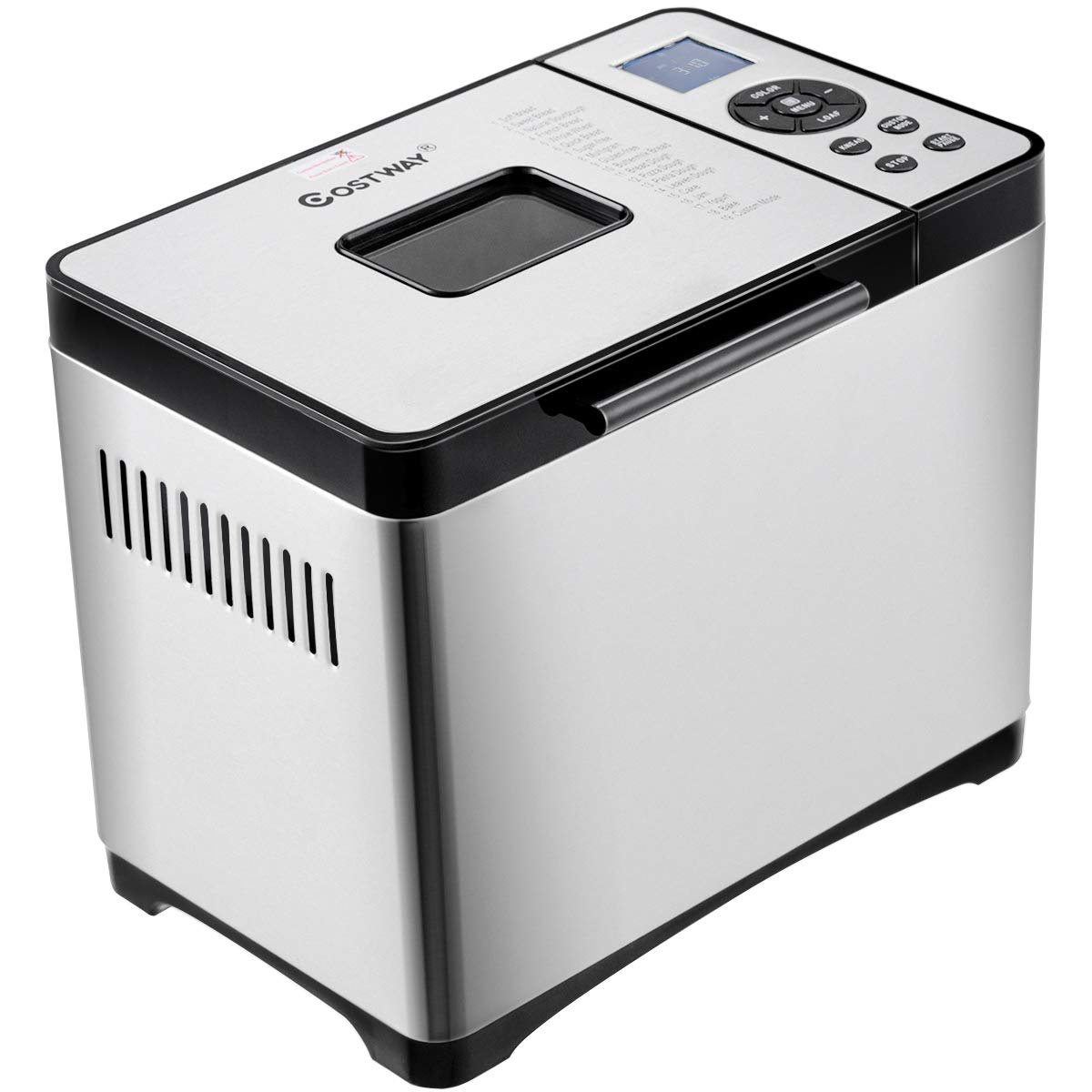 COSTWAY Automatic Bread Maker Stainless Steel Programmable Multifunctional Bread Machine with 15 Programs, 3 Loaf Sizes, 3 Crust Colors, 15 Hours Delay Timer, 1 Hour Keep Warm (15 Programs 600W) 23592-CYPE