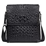 Men's Fashion Shoulder Leather Bag Flap Alligator Pattern Black Brown Unique Cross Body Messenger Bag 207-1 (Black)