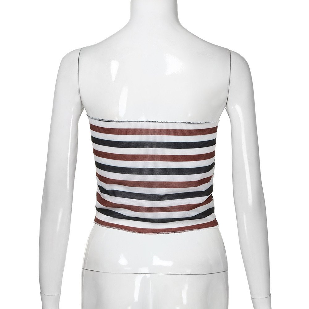 Eolgo 2019 Women's Summer Blouse Sexy Striped Tank Fashion Off Shoulder Shirt Tight Wrap Vest Tops(Red,M) by Eolgo (Image #5)