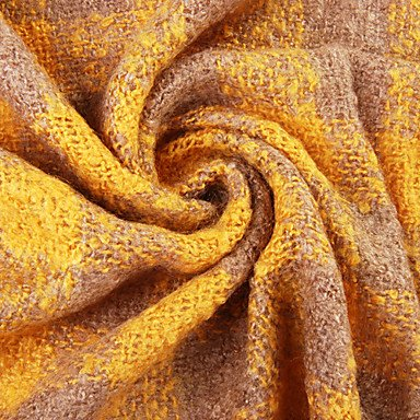LY Classic Small Plaid Acrylic Fiber Yellow Warm Winter Scarf with Tassels