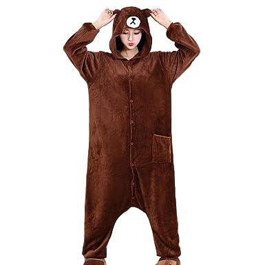 Amazon.com  HKSNG Brown Teddy Bear Pajamas Kigurumi Onesies Cosplay  Costumes  Clothing 39d676f4eb7b