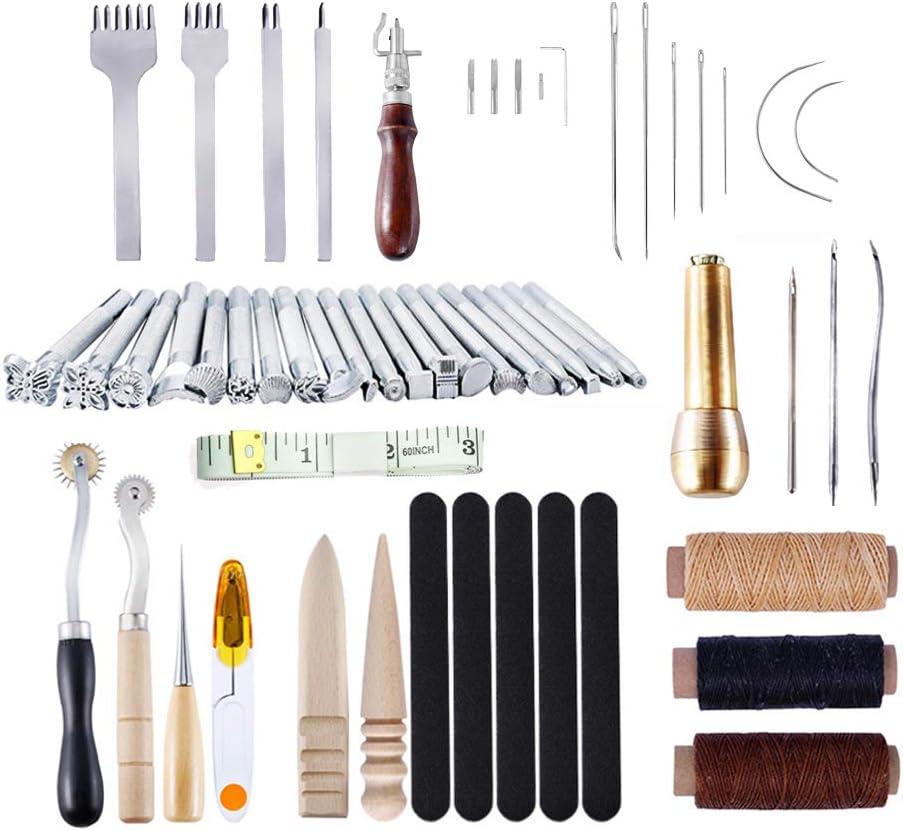 LQKYWNA 59 Piezas de Suministros de Costura de Cuero de Bricolaje con Artesanía única Costura de Cuero Kit de Herramientas de Perforación para Principiantes/Profesionales Artesanía