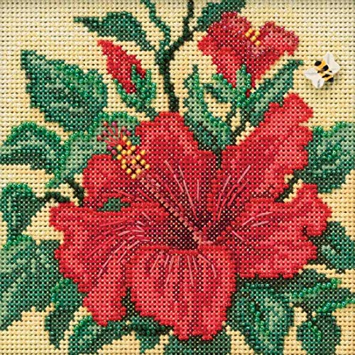 Hibiscus Beaded Counted Cross Stitch Kit Mill Hill 2019 Buttons & Beads Spring MH141915