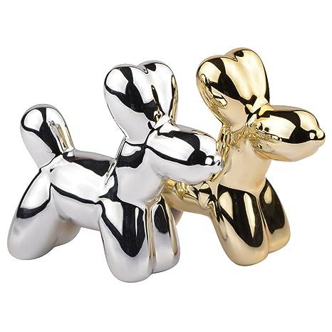 Salero y pimentero perros globos Crazy Dogs dorado y gris cromo cerámica la chaise longue 35 – 2 K-023