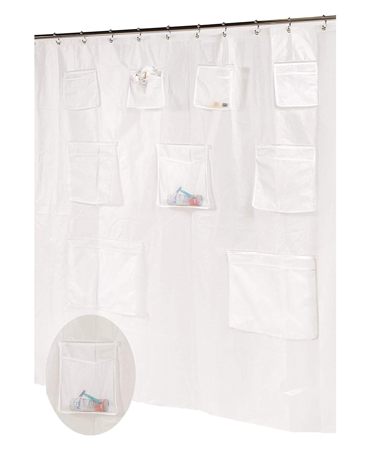 Ben & Jonah Royal Bath Heavy PEVA Non-Toxic Shower Curtain Liner with 9 Mesh Pockets for Organization (70'' x 72'') -Frosty Clear, Super