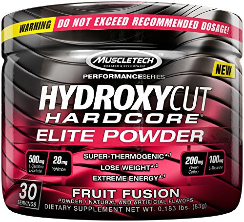 Hydroxycut Hardcore Elite Powder Fruit Fusion, 30 Servings,
