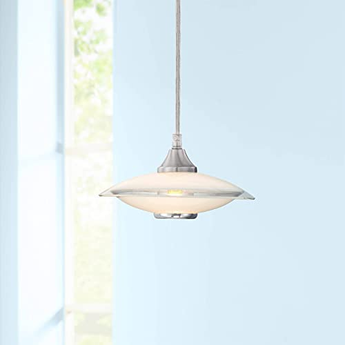 Satin Nickel Mini Pendant Light 8″ Wide Modern Retro Saucer White Clear Glass Fixture