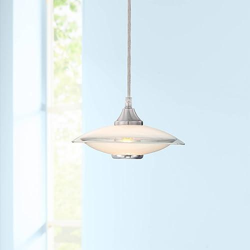 Satin Nickel Mini Pendant Light 8″ Wide Modern Retro Saucer White Clear Glass Fixture