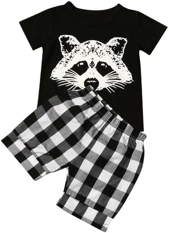 Jiameng ropa para niños, camiseta a rayas de tartán cabeza ...