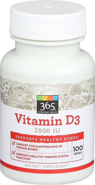 Amazon.com: 365 Everyday Value, Vitamin D3 2000 IU, 100 ct: Health & Personal Care