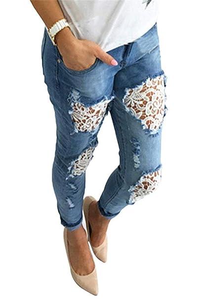 HaiDean Pantalones De Mezclilla Pantalones De Encaje Torn ...