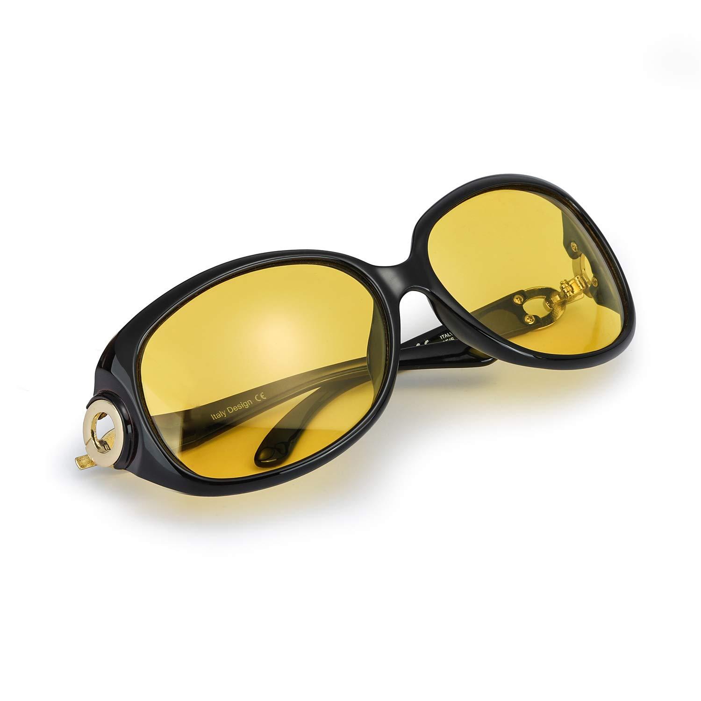 Mode Gelben Nachtsichtbrille ü bergroß en Vintage Rund HD Sonnenbrille Autofahren fü r Damen mit Polarisierten Entspiegelten 100% UVA UVB Schutz
