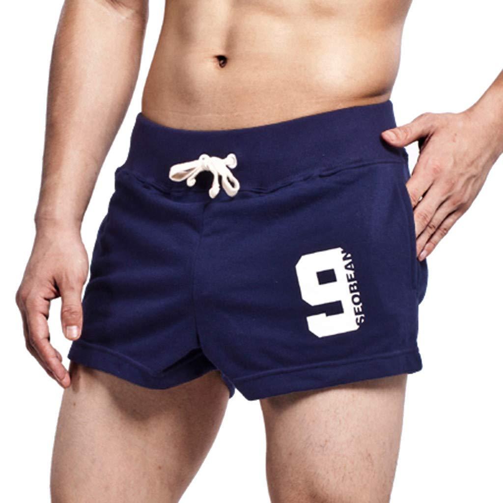 Connia Men's Summer Leisure Cotton Leggings Shorts Fashion Drawstring Slim Fit Home Sports Pants (L, Dark Blue)