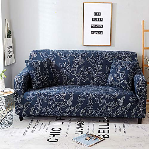 Jaoul All Cover Printing Elegant Floral High Stretch Couch Sofa Slipcover Furniture Protector with Two Pillow Cases, Navy Leaves, Sofa-4 Seater (Couch Pillow Slipcovers)