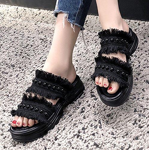 Bout Easemax Noir de Epais Plage Chaussure Femme Simple Ouvert Mules wTrFfqTYx