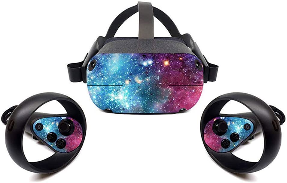 Oculus Quest VR Headset and Controller Sticker, Vinyl Decal Skin for VR Headset and Controller, Virtual Reality Protective Accessories - Starry Galaxy