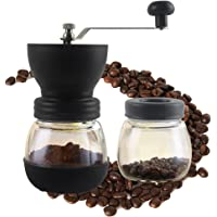 GreeSuit Coffee Burr Grinder, Manual, Mill Ceramic Burr Hand-Crank Coffee Mill with Glass Container