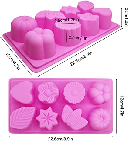 Leaf and Heart Shaped 3 Pcs Silicone Molds Flower Pink FineGood 8-Cavity Cake Chocolate Candy Pudding Jelly Soap Muffin Making Trays for Kitchen Baking