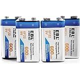 EBL 9Volt Block 6F22 600mAh wiederaufladbare Li-ion Akku, höchste Leistung Lithium-ion-Batterien, geringe Selbstentladung 4 Stück
