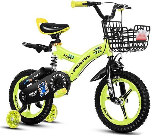 DT La Nueva Bicicleta Amarilla roja para niños 2-3-4-6-7-8-9-10 años Niño niña niño Pedal de Bicicleta 14/16 Pulgadas Aleación de magnesio Una Rueda Destello de Asistencia: Amazon.es: Hogar