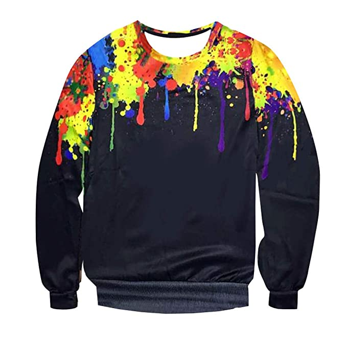 WM & MW Fashion Mens Pullover Tops Long Sleeve Splash 3D Printed Crewneck Sweatshirt T-