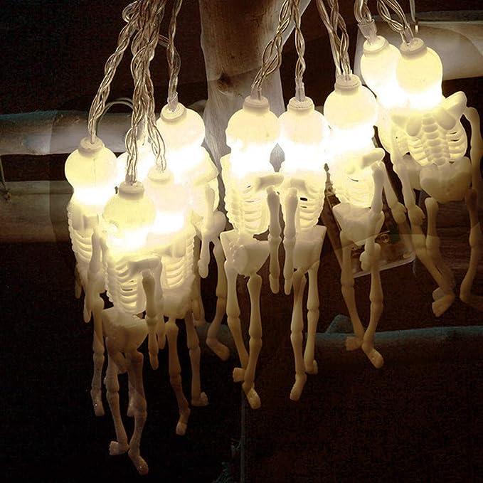 Wondder Halloween Luci a Corda Skull Ghost LED Light Alimentato a Batteria per la Casa di Vacanza di Halloween Feste a tema Decorazione Forniture (Bianco caldo, 1.2M 10LED)