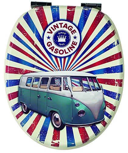 PEGANE Abattant 47 x 38 x 6 cm Dim Lunette WC Beige Soft Motif Close Van en Bois