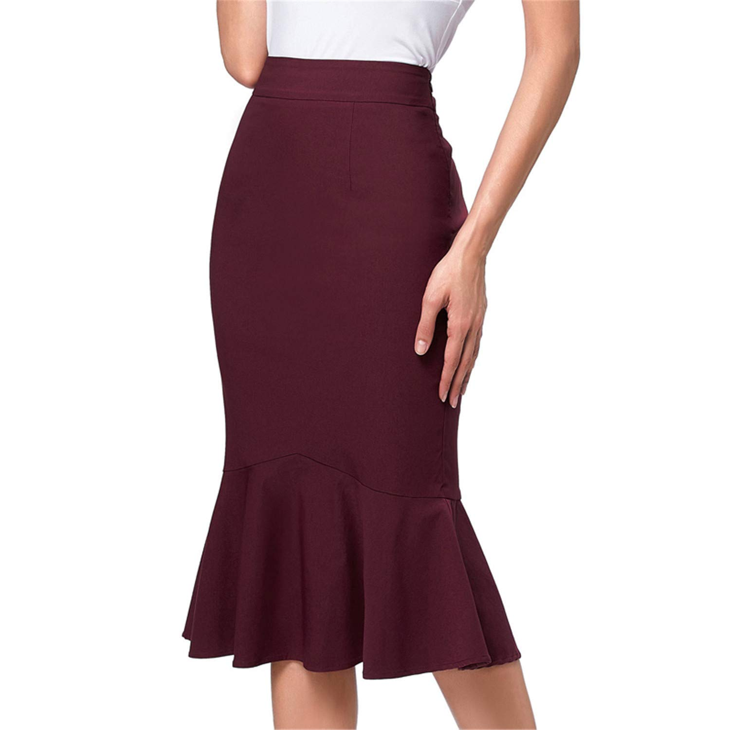 d141cddce48c Amazon.com: OL Office Skirts Womens Bodycon Midi Skirt Ruffles Pencil  Mermaid Skirts Party Formal Occasion: Clothing