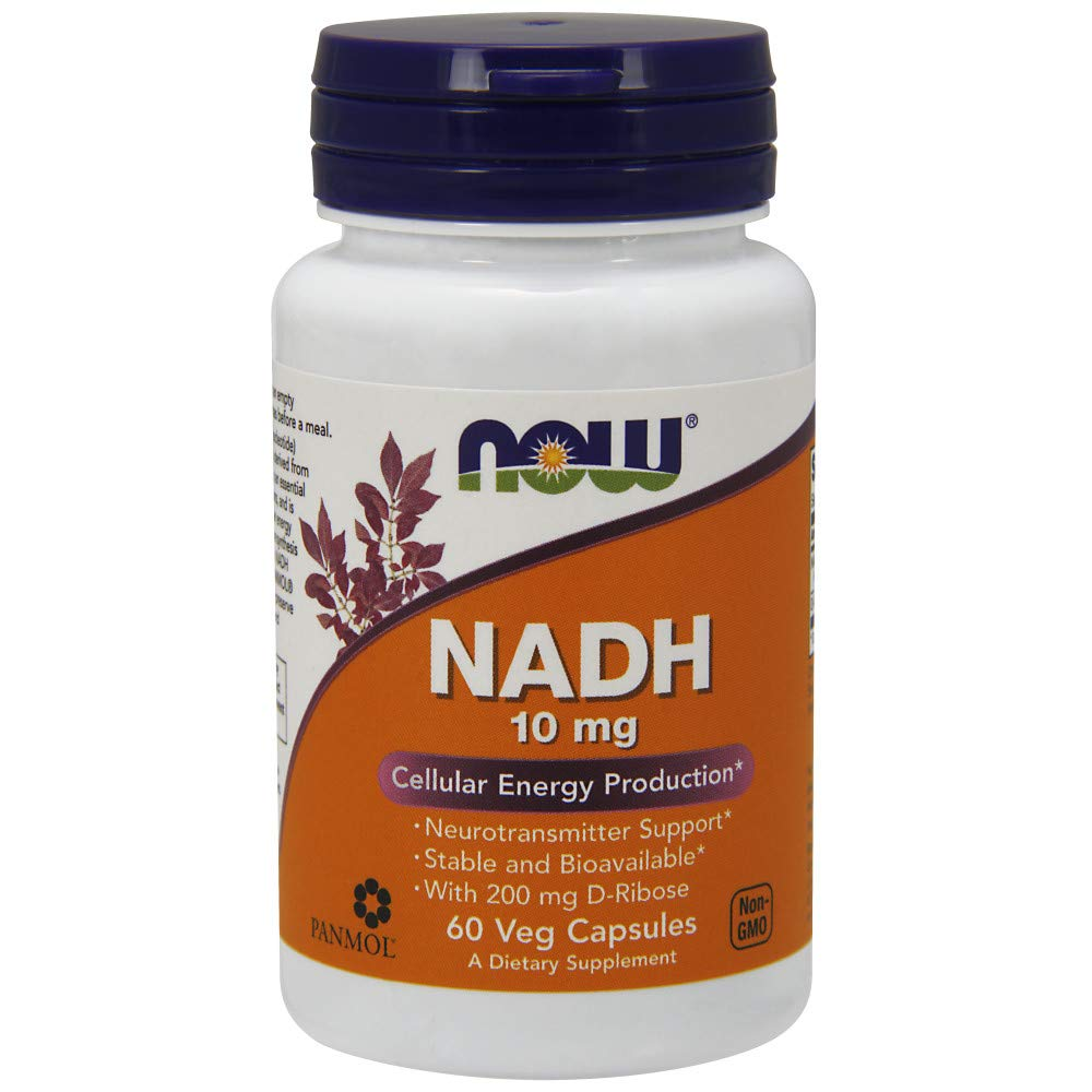 NOW Supplements, NADH (Reduced Nicotinamide Adenine Dinucleotide) 10 mg with 200 mg D-Ribose, 60 Veg Capsules by NOW