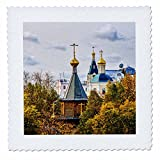 3dRose Alexis Photography - Moscow City - Small wooden chapel in golden autumn season - 22x22 inch quilt square (qs_267324_9)