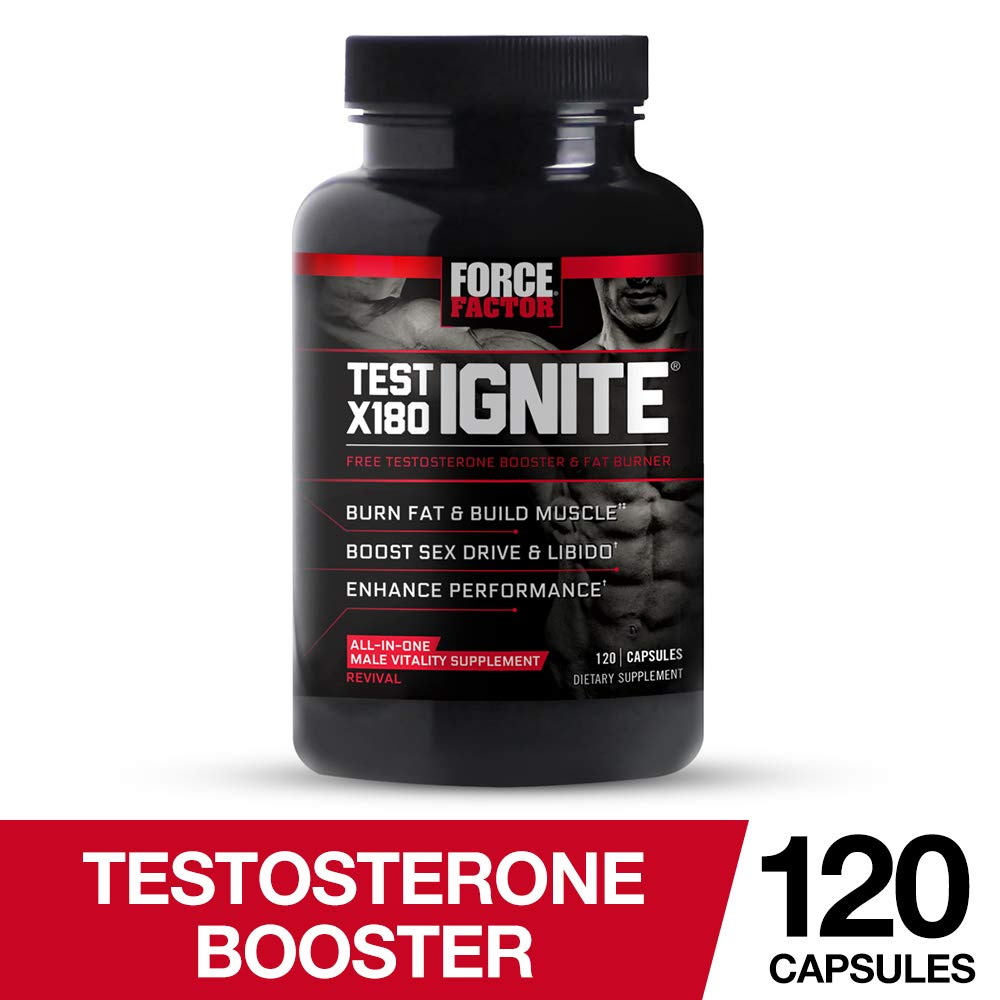 Test X180 Ignite Free Testosterone Booster to Increase Sex Drive & Libido, Burn Fat, Build Lean Muscle, & Improve Performance, Force Factor, 120 Count by Force Factor