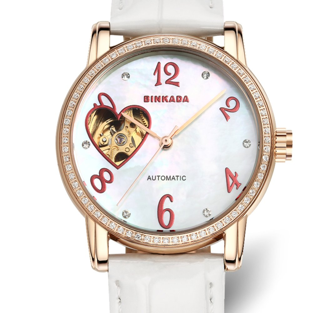Ladies automatic mechanical watches/ fashion strap watch/ love cut waterproof women's table-A