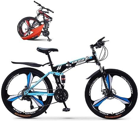 BUK Bicicleta Montana Hombre, Bicicleta de Ciudad Plegable de aleación Ligera de 24 Pulgadas Plegable Marco de Acero Bicicleta de absorción de Choque de Doble Disco-Azul: Amazon.es: Deportes y aire libre