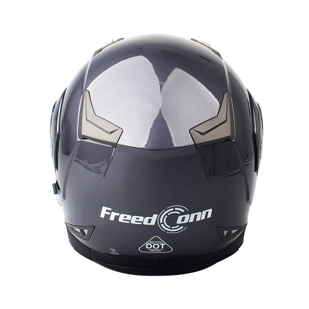 Motorcycle Bluetooth Helmets,FreedConn Flip up Dual Visors Full Face Helmet,Built-in Integrated Intercom Communication System(Range 500M,2-3Riders Pairing,FM radio,Waterproof,M,Gray)