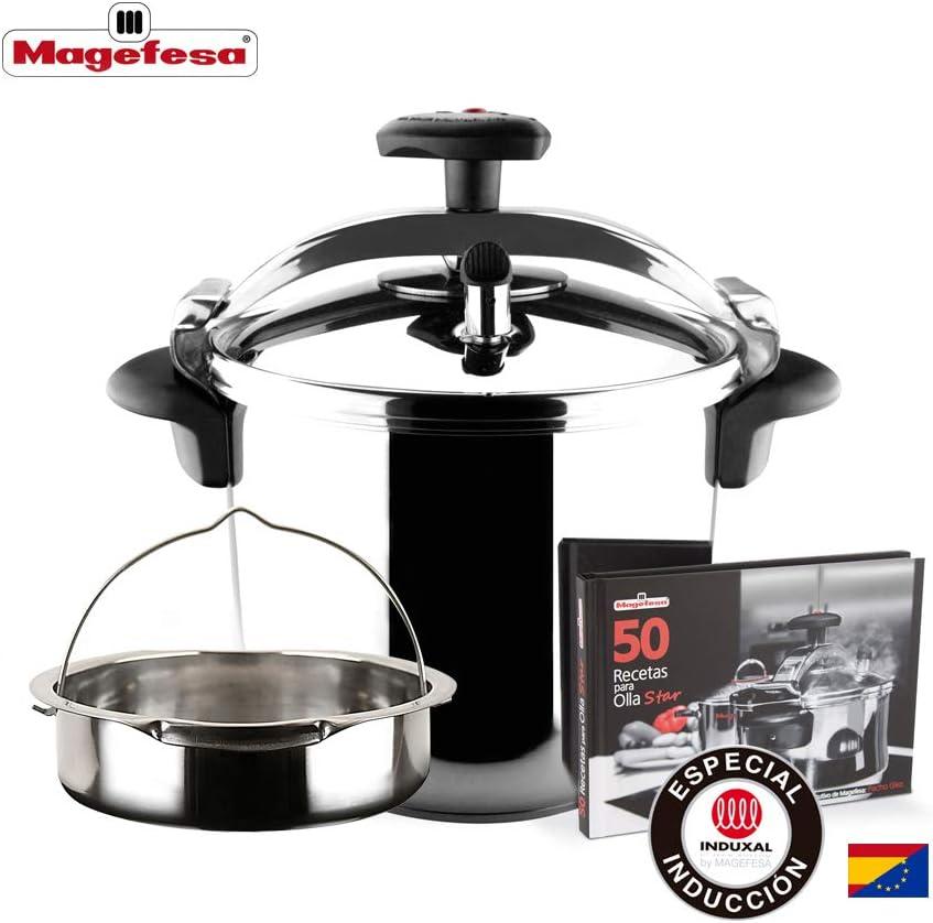 MAGEFESA STAR Olla a presión rápida. Pack exclusivo Olla+Cestillo+Libro de recetas. Fácil uso, acero inoxidable 18/10, apta para todo tipo de cocinas, incluido inducción, 3 sistemas de seguridad. (4L)
