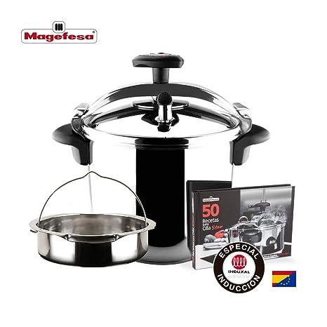 MAGEFESA STAR Olla a presión rápida. Pack exclusivo Olla+Cestillo+Libro de recetas. Fácil uso, acero inoxidable 18/10, apta para todo tipo de cocinas, ...