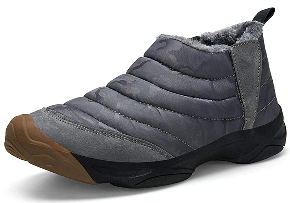 Camo Grey Eagsouni Women Men Anti-Slip Waterproof Ankle Snow Boots Fully Fur Lined Winter Outdoor Booties Sneakers