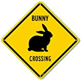 "PetKa Signs and Graphics PKAC-0175-NA_ ""Bunny Crossing"" Aluminum Sign, black Text with Yellow Background 10"" x 10"", black Text With Yellow Background"