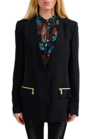 c98a46f631 Versace Jeans Black One Button Women s Blazer US 10 IT 46   Amazon ...