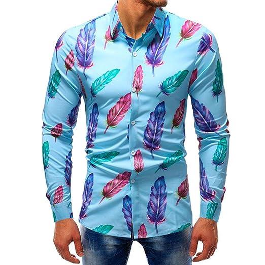 Qiusa Camisas para Hombre para Hombre 5XL Camisas Azul Marino Slim ...